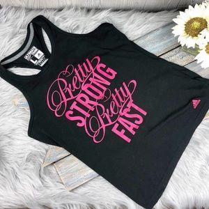 Adidas Workout Tank Top Black Size Large Pink